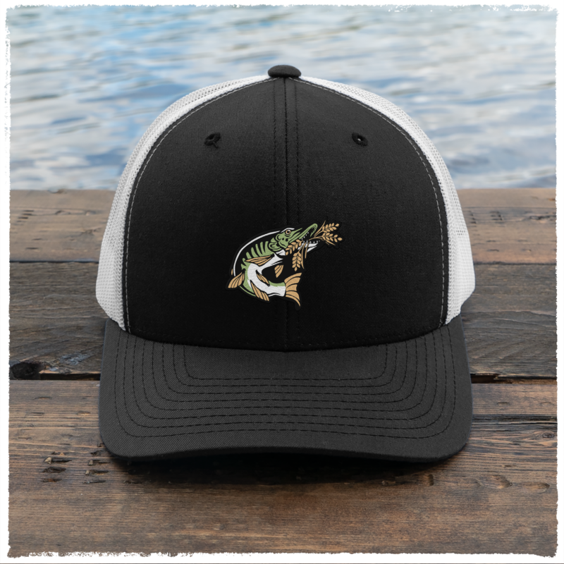 Trucker-Hat-Black-White-Image-Front-Muskie-HD-0003-BW-FRONT